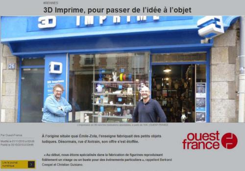 Revue de presse Ouest France, 3d Imprime impression 3D